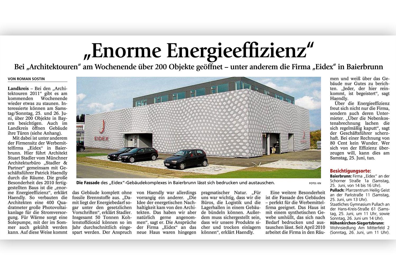 EIDEX Chronik neues Gebäude Zeitungsbericht
