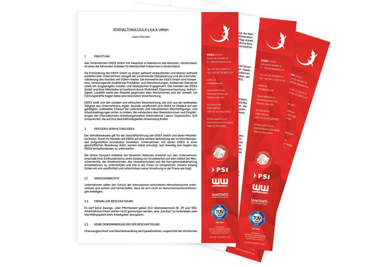 EIDEX Verantwortung Code of Conduct Werbemittel